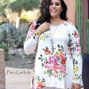 PLUS SIZE BLACK PINK FLORAL BUTTERY SOFT LOOSE FIT TUNIC BLOUSE 1X 2X 3X USA